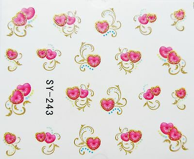"""Valentines Shimmer 3D Nail Art Sticker """"Red Gold LOVE Hearts"""" Water Decals 243"""