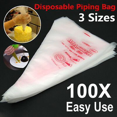 100 Plastic Disposable Icing Piping Pastry Bags Cake Cream Decorating S/M/L IDXX