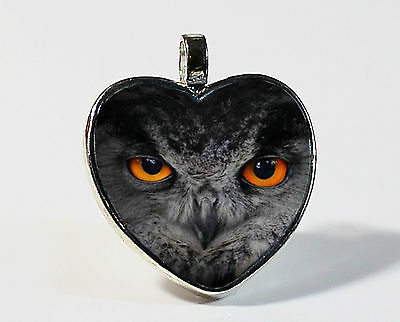 Owl Eyes Silver Heart Shaped Photo Pendant with Leather Cord