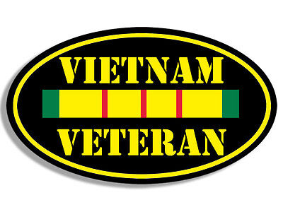 3x5 inch Oval VIETNAM VETERAN Sticker - decal army vet military ribbon bumper