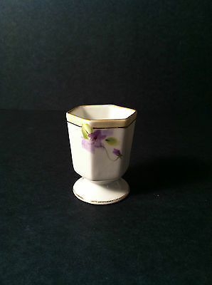 Hand Painted NIPPON toothpick holder MINTY purple flowers signed