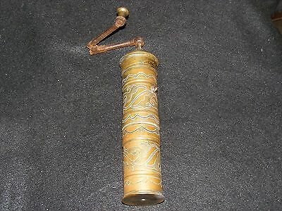 Vintage Decorated Brass/ Copper SPICE Coffee Grinder Middle East Turkish EGYPT