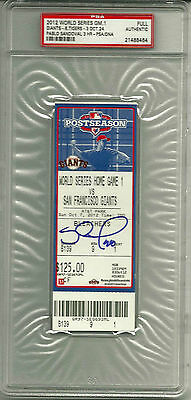 PABLO SANDOVAL SIGNED 2012 WORLD SERIES GM1 TICKET PSA DNA 3HRs GIANTS RED SOX