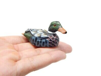 Miniature MALLARD Duck Decoy Wooden Carved Ornaments Hand Painted