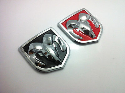 New Pair Head Grill Tailgate hood Emblem Badge Sticker Decal ABS For Dodge Ram