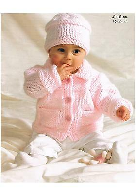 Baby Jacket Sweater Cardigan Hat Knitting Pattern PATTERN ONLY 16-24 ins Chunky