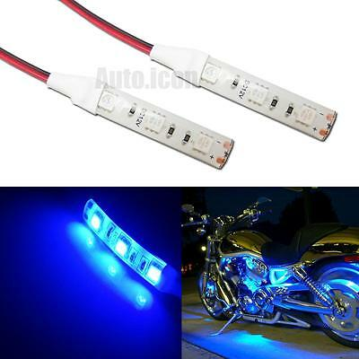 2pcs 3-SMD Ultra Blue LED Strip Lights For Motorcycle Knight Rider Ground Effect