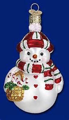 New NWT Sweetie Pie Snowman  Old World  Christmas Ornament Blown Glass