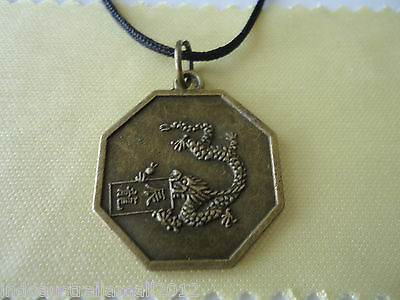 Chinese Zodiac Bronze Metal  DRAGON & Yin Yang Bagua Pendant on Black Cord