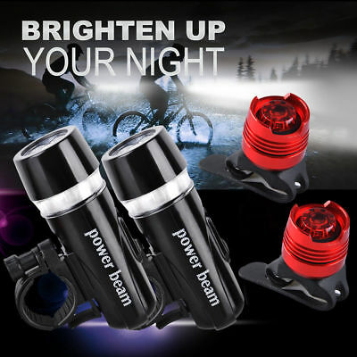 2x Waterproof Bike Bicycle Light Front 5 LED Head & Back Aluminum Rear Light