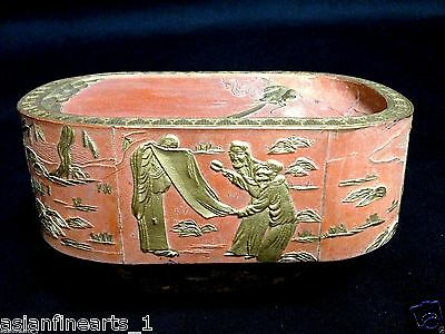 Old Chinese Antique Red Ink Block with Raised Carving and Calligraphy #320