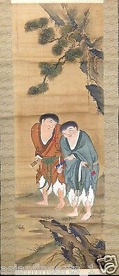 Old Chinese Men Ink / Color Long Scroll Painting w/ Original Mount - Satin! #258