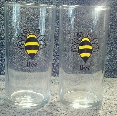 PAIR OF 2 VINTAGE LIBBEY 4-5/8'' HIGH BUMBLEBEE DRINKING GLASSES MINT HONEY BEE