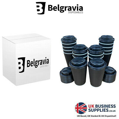 50 x 16oz Black Ripple Cups & Lids Insulated Tea Coffee Disposable Cups