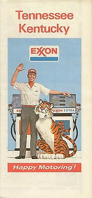 1974 EXXON OIL Road Map KENTUCKY TENNESSEE Nashville Lexington Louisville Tiger