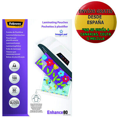 Pack De 100 Fundas Para Plastificar Fellowes 53061 Formato Din A4 (216 X 303 Mm)