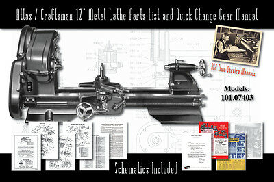 "Atlas/Craftsman 12"" Metal Lathe Parts List 101.07403 Parts List & Quick Change"