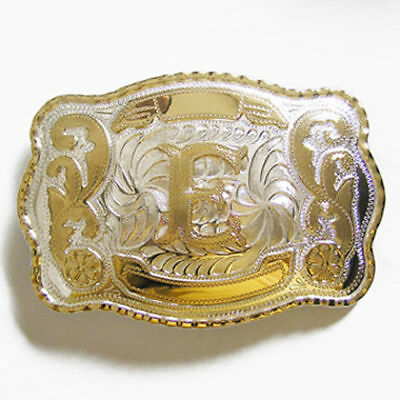 """Initial """"E"""" Letter Large Gold & Silver Rodeo Western Cowboy Metal Belt Buckle"""