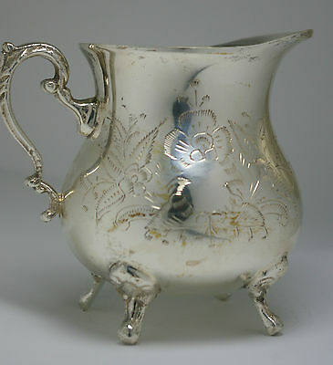 Silver Plate Metal Creamer Silver Weighted Pitcher Cream Etched Footed Handle