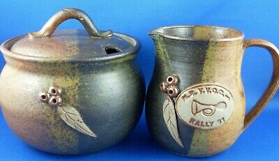 Stamped NRVVCC RALLY 1991 GUMNUT Pottery Milk Jug & Sugar Bowl EXC ~ in Aust