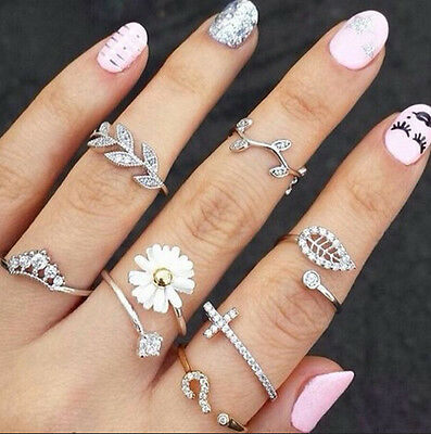 Top Punk Infinity Urban Gold Silver Tone stack Plain Knuckle Midi Ring Set Rings