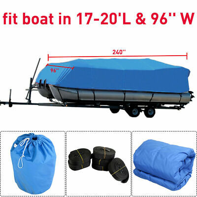 New 17-20 Ft Waterproof Heavy Duty Fabric Trailerable Pontoon Boat Cover Blue