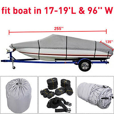 New 17-19 Ft Waterproof Heavy Duty Fabric Trailerable V shape Boat Cover Gray