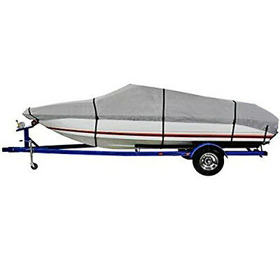 New 20-22 Ft Waterproof Heavy Duty Fabric Trailerable V shape Boat Cover Gray