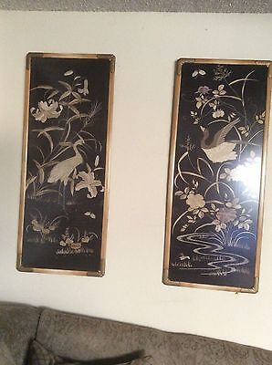 PAIR ANTIQUE 19c ORIENTA LARGE SILK  EMBROIDERY FRAMED WITH GLASS