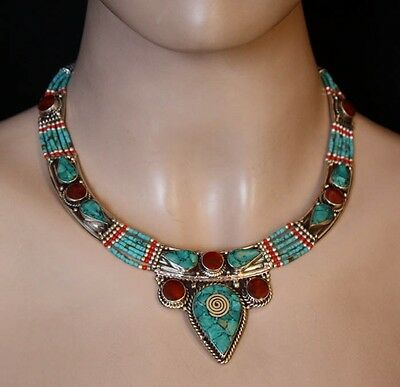 Ethnic Sterling Silver Necklace Turquoise Tribal Nepalese Handmade HGH1