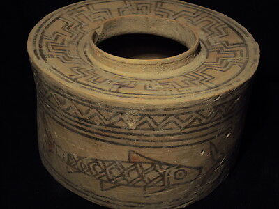 Ancient Teracotta Bronze Age Large Painted Pyxis 2500 BC