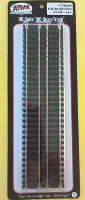 """Atlas Track #821 - HO Scale Code 100 Black Ties - 9"""" Straight Track 6 Pieces New"""