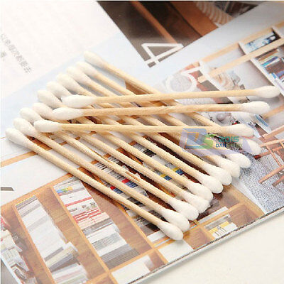 White Wooded Double Pointed Head Makeup Removing Cotton Buds Swabs Q-tip 1200pcs