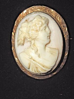 Antique 10k Yellow Gold Cameo Shell Pin Brooch