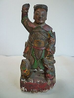 Antique Vintage 19th Century Wood Hand Carved Emperor Statue