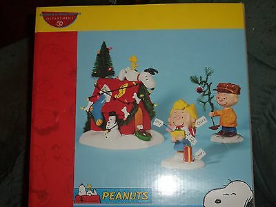 Dept 56 Peanuts Lighted A Very Snoopy Christmas 3 Piece Set Retired #56.59092