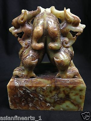 Antique Chinese Nephrite Hetian Green White Jade Lion Chop Stamp #400