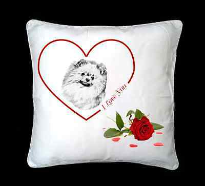 Pomeranian Dog Valentines Design Faux Silk/Suede Cushion Cover by paws2print