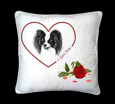 Papillon Dog Valentines Design Faux Silk/Suede Cushion Cover by paws2print