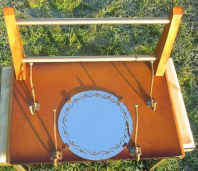 Vintage Wooden French Mid Century Wall Shelf Coat Hat Rack  glass Mirror