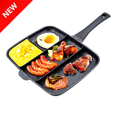 Divided Frying Pan 32Cm Die Cast No Stick 4 In 1 Marble Coating Grill Pan