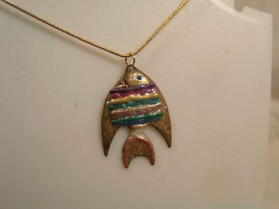 """Vintage= 20"""" Gold Plate Chain/Gold Fish-Pendant-#75=1-7-15-#2  FREE SHIP"""