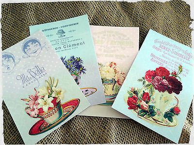 "Shabby Chic French Tea Cup Vintage Style Cards - 6"" x 4"""