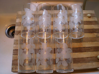 Rare Federal Glass 5 1/2 Etched Flower Tumbler Set (t)