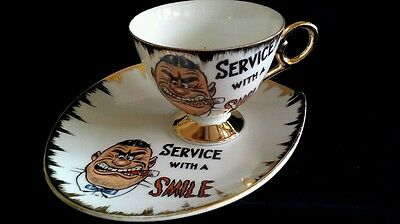 Tennis set Humourous novelty china porcelain tea coffee cup saucer cigar vgvc