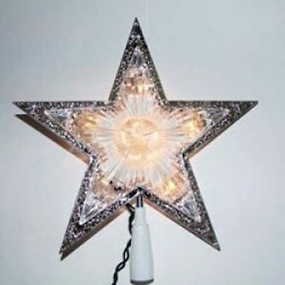 New Holiday Time Light Up Star Tree topper Silver White Lights New