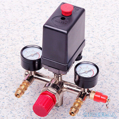 120PSI Air Compressor Pressure Switch Control Valve w/ Manifold Regulator Gauges