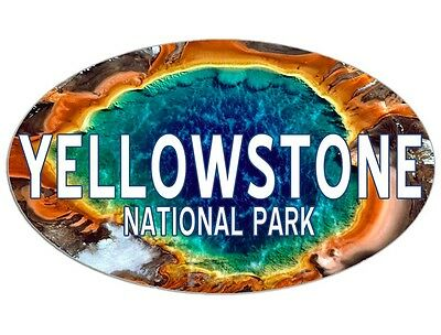 3x5 inch Oval EYE OF YELLOWSTONE Sticker -decal bumper national park hike lake