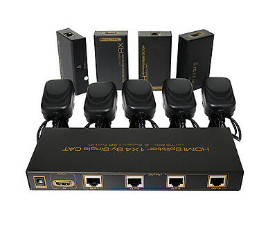 4-port HDMI extender splitter by ethernet cat5e/6 up to 60M with 4 HDMI receiver