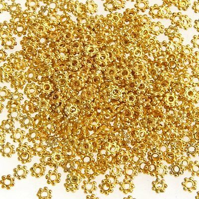 500X Gold Tone Daisy Flower Spacer Beads gift